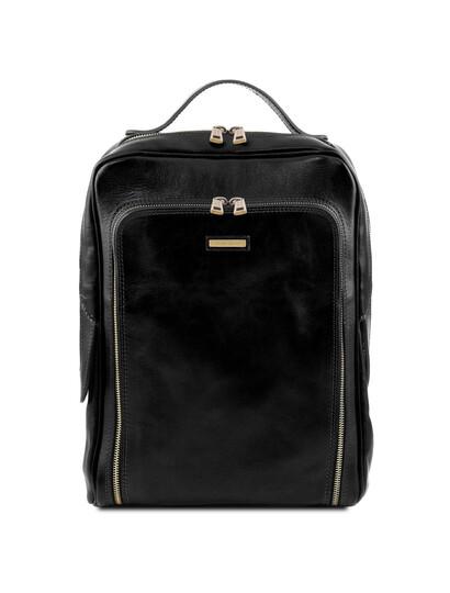 Rucsac laptop barbati din piele naturala Tuscany Leather, negru, Bangkok