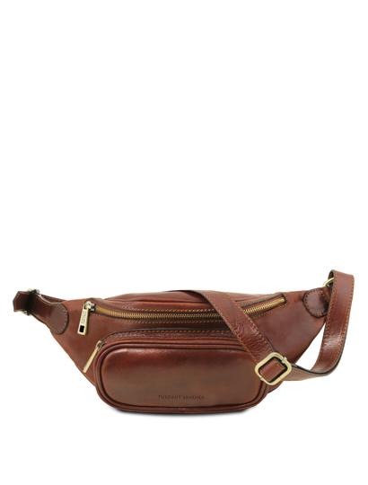 Borseta de brau barbati din piele naturala Tuscany Leather, maro
