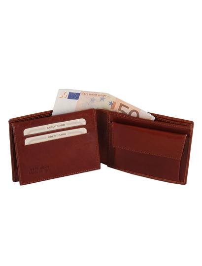 Portofel din piele Tuscany Leather cu trei pliuri si buzunar monede honey