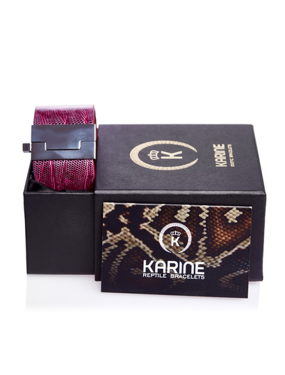 Bratara piele naturala de piton ciclamino in cutie cadou cu certificat de autenticitate karine