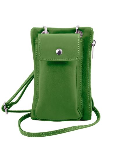 Geanta telefon Tuscany Leather din piele naturala verde mini cross