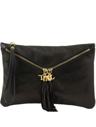 Genti dama | Audrey - Clutch din piele negru - Tuscany Leather