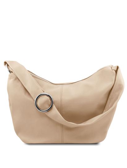 Geanta dama din piele naturala light taupe Tuscany Leather, Yvette