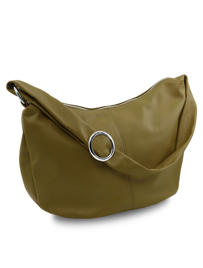 Geanta dama verde din piele naturala Tuscany Leather, Yvette