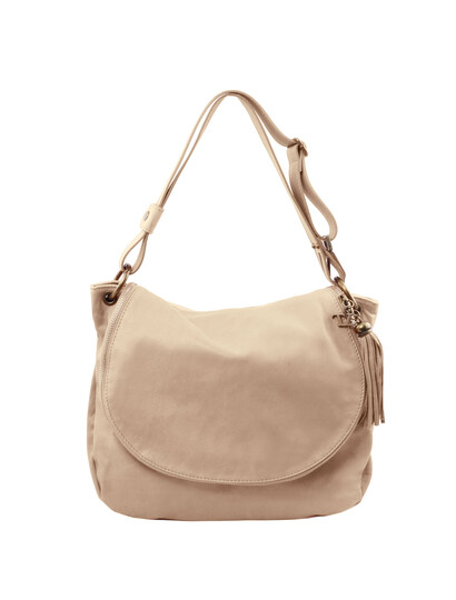 Geanta dama de umar din piele naturala Tuscany Leather, light taupe, TL Bag