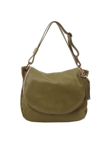 Geanta dama de umar din piele naturala Tuscany Leather, verde masliniu, TL Bag
