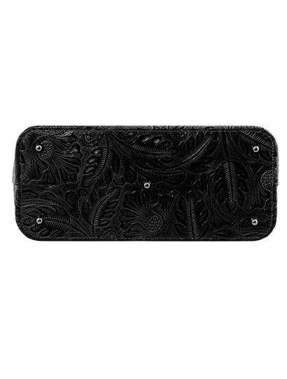 Geanta de  piele naturala dama Tuscany Leather, neagra, cu imprimeu floral Gaia
