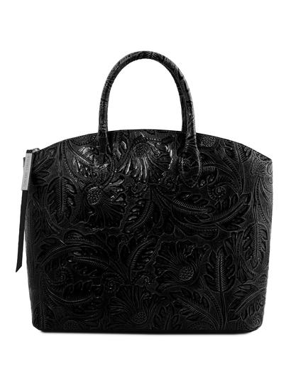 Geanta piele naturala dama Tuscany Leather, neagra, cu imprimeu floral Gaia