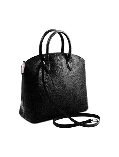Geanta sofisticata din piele naturala dama Tuscany Leather, neagra, cu imprimeu floral Gaia