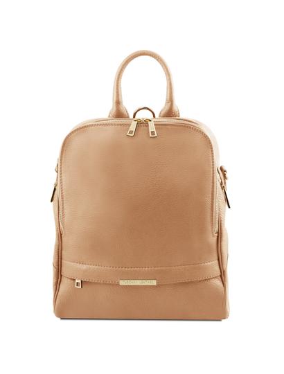 Rucsac dama din piele naturala Tuscany Leather, sampanie, TL Bag