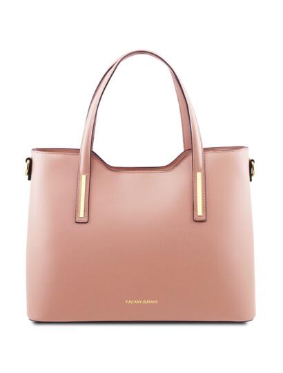 Geanta dama piele naturala roz pal, Tuscany Leather, Olimpia