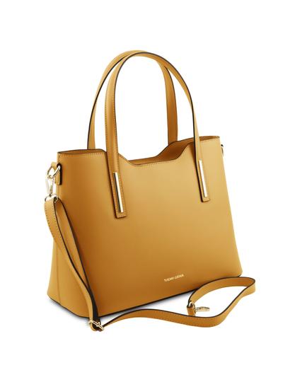 Geanta galben mustar din piele naturala Tuscany Leather, Olimpia
