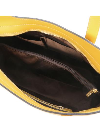 Geanta piele galben mustar dama Tuscany Leather, Olimpia
