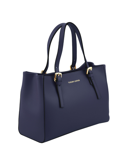 Geanta dama de mana Tuscany Leather din piele albastru inchis Aura