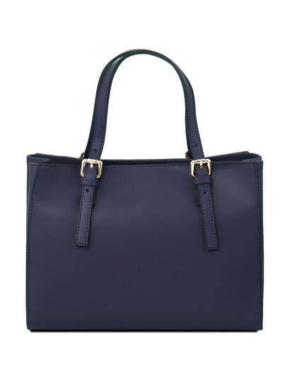 Geanta piele naturala  Tuscany Leather din piele albastru inchis Aura