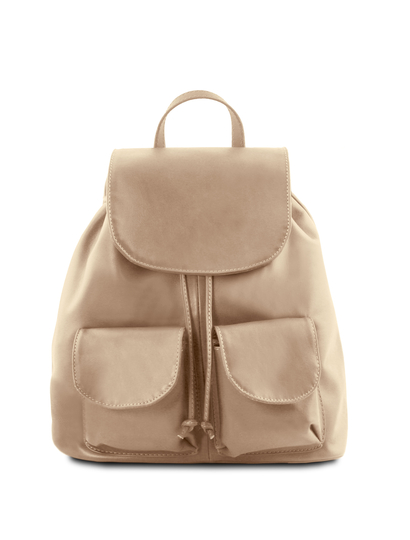 Rucsac din piele naturala Tuscany Leather, light taupe, Seoul marime mare