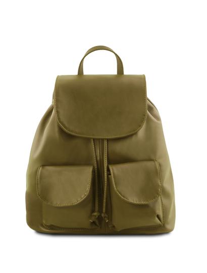 Rucsac din piele naturala Tuscany Leather, verde masliniu, Seoul marime mare