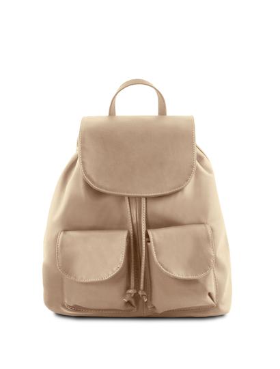 Rucsac din piele naturala Tuscany Leather, light taupe, Seoul