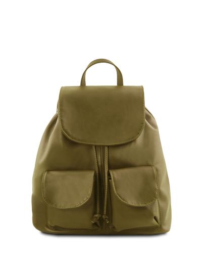 Rucsac din piele naturala Tuscany Leather, verde masliniu, Seoul