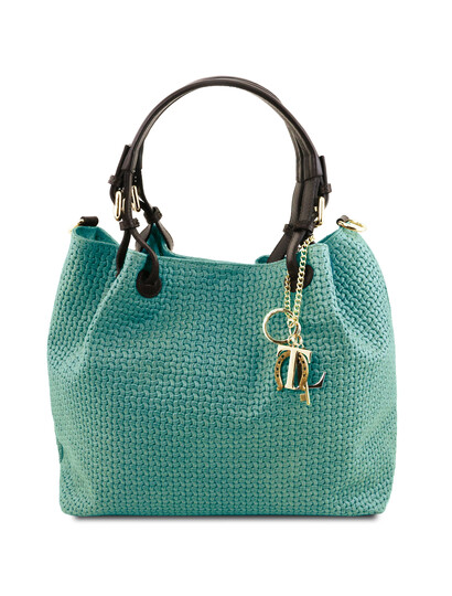 Geanta dama shopper Tuscany Leather din piele printata turcoaz Keyluck