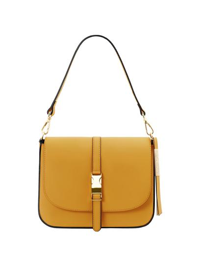 Geanta galben mustar dama din piele naturala Tuscany Leather, Nausica