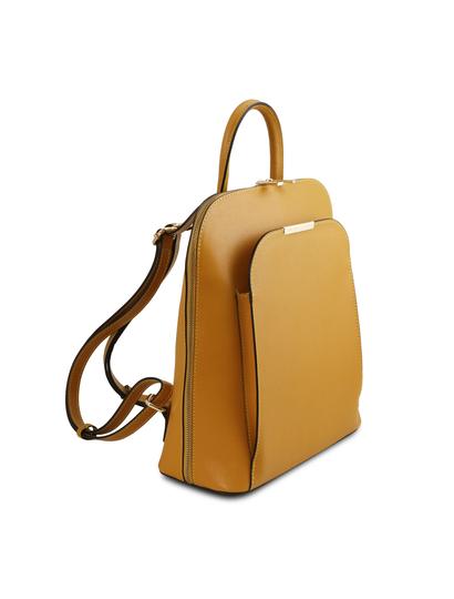 Rucsac dama galben mustar din piele naturala Tuscany Leather