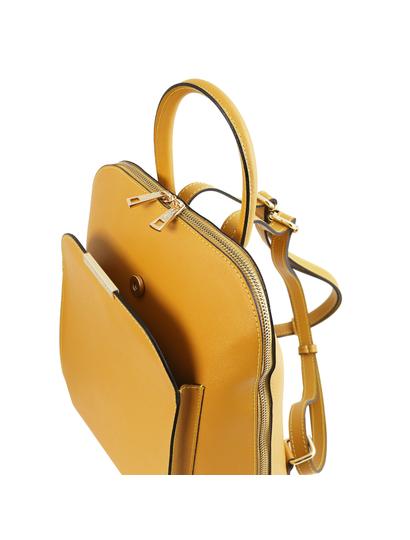 Rucsac galben mustar din piele naturala Tuscany Leather