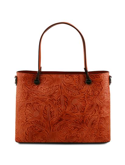Geanta shopper Tuscany Leather brandy cu pattern floral Atena