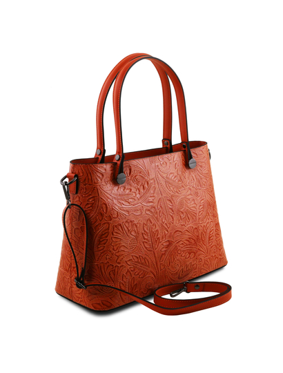 Geanta dama Tuscany Leather brandy cu pattern floral Atena