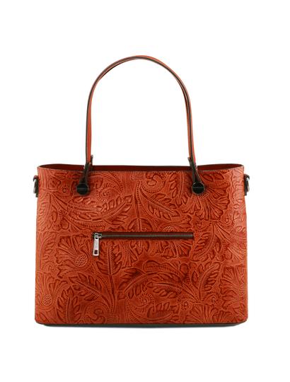 Geanta dama piele Tuscany Leather brandy cu pattern floral Atena