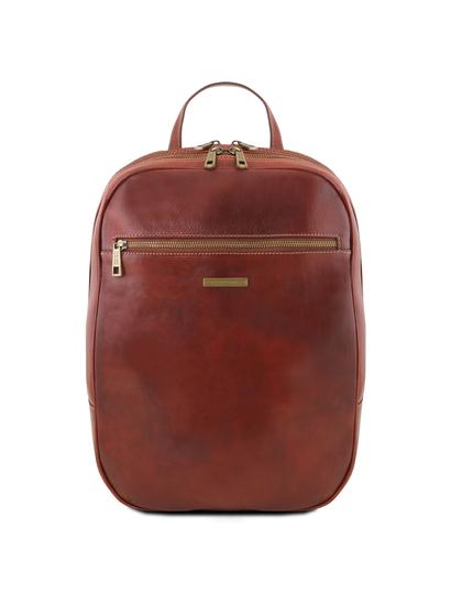 Rucsac laptop din piele naturala Tuscany Leather, maro, Osaka