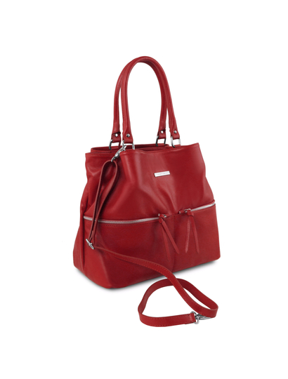 Geanta rosie dama din piele naturala Tuscany Leather