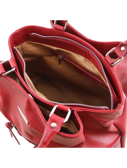 Geanta rosie piele naturala dama Tuscany Leather