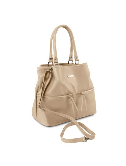 Geanta dama piele naturala Tuscany Leather, light taupe