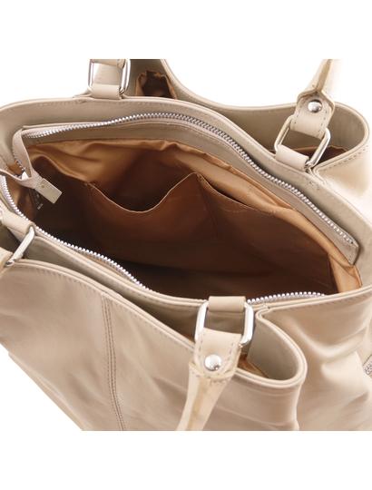 Geanta taupe piele naturala dama Tuscany Leather
