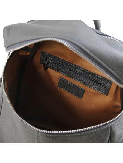 Rucsac dama gunmetal gri din piele naturala Tuscany Leather, TL Bag