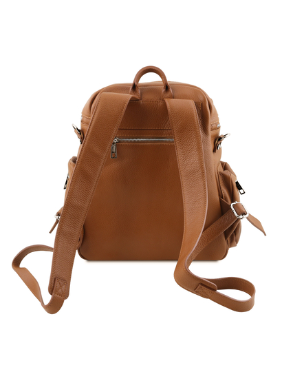 Rucsac coniac din piele naturala Tuscany Leather, TL Bag