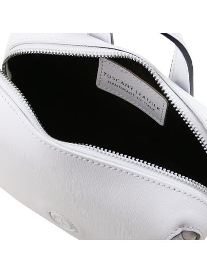 Geanta lux dama din piele naturala Tuscany Leather, alba, Dalia