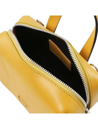 Geanta mica dama din piele naturala Tuscany Leather, galben mustar, Dalia