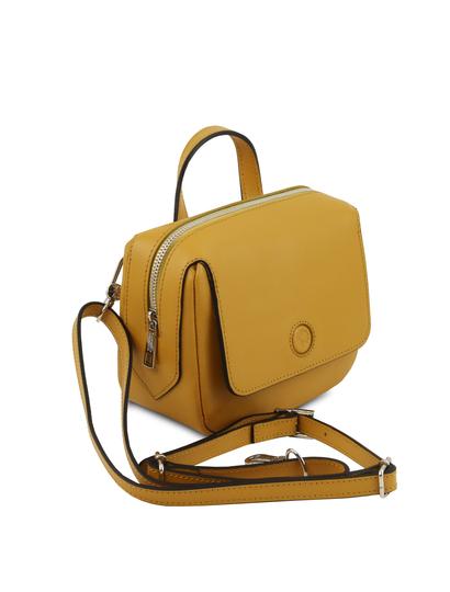 Geanta galben mustar dama din piele naturala Tuscany Leather, Dalia