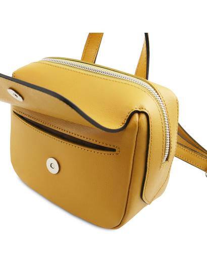 Geanta galben mustar din piele naturala Tuscany Leather, dama, Dalia
