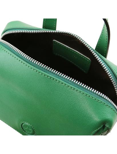Geanta lux dama din piele naturala Tuscany Leather, verde, Dalia