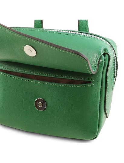Geanta de firma dama din piele naturala Tuscany Leather, verde, Dalia