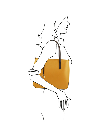 Geanta dama galben mustar din piele naturala, Tuscany Leather, Penelope
