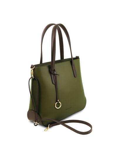 Geanta verde din piele naturala, Tuscany Leather, Penelope