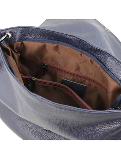 Geanta albastra dama din piele naturala Tuscany Leather, TL Bag