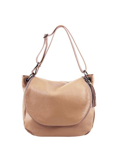 Geanta dama din piele naturala Tuscany Leather, sampanie, TL Bag
