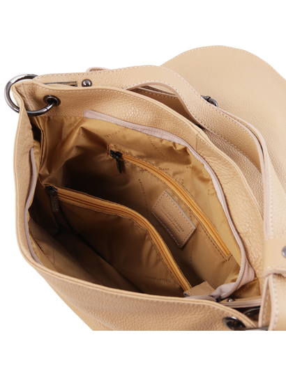 Geanta dama de umar din piele naturala Tuscany Leather, sampanie, TL Bag
