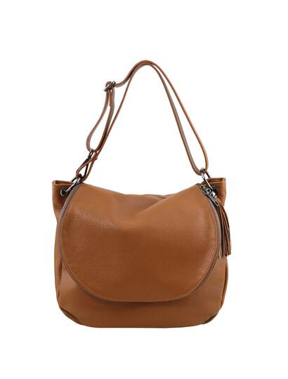 Geanta dama din piele naturala Tuscany Leather, coniac, TL Bag