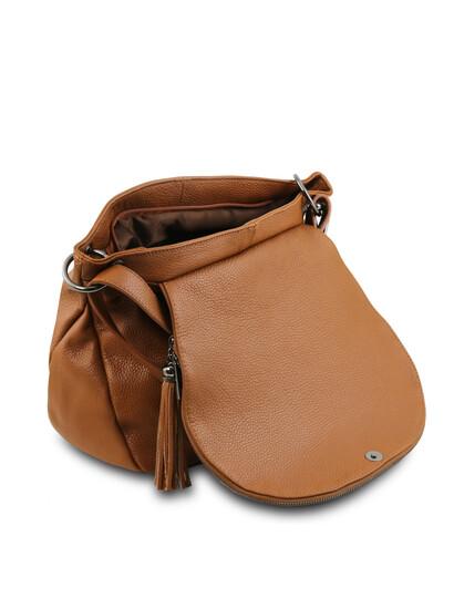 Geanta coniac din piele naturala Tuscany Leather, TL Bag